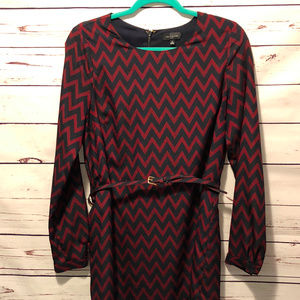 Blue + Maroon Chevron Dress with Belt Size Medium